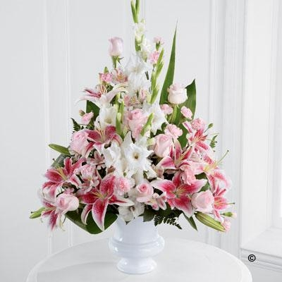 Pink Rose, Lily and Gladioli Service Arrangement *